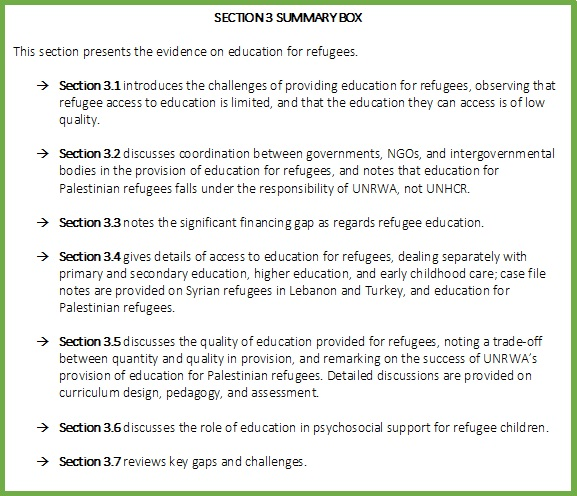 Education for refugees and IDPs in low- and middle-income countries